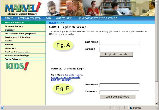 MARVEL login by library barcode or by username and password